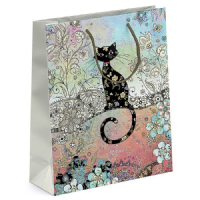 Pretty Patterned Cat Gift Bags, Gold Foil Art 17.5 x 22.25 x 12cm MEDIUM Pack of 3